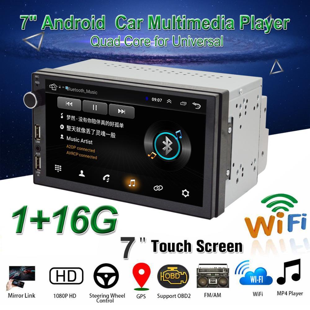 "2DIN Car 9/"" Android 8.0 Touch Pad Stereo Radio 4CPU+4GPU GPS Wifi RAM:1G ROM:16G"