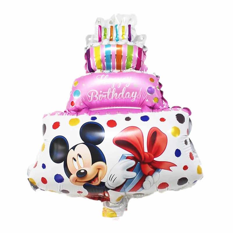Mini เค้ก Minnie Mickey การ์ตูนวันเกิดบอลลูนอลูมิเนียมเด็ก