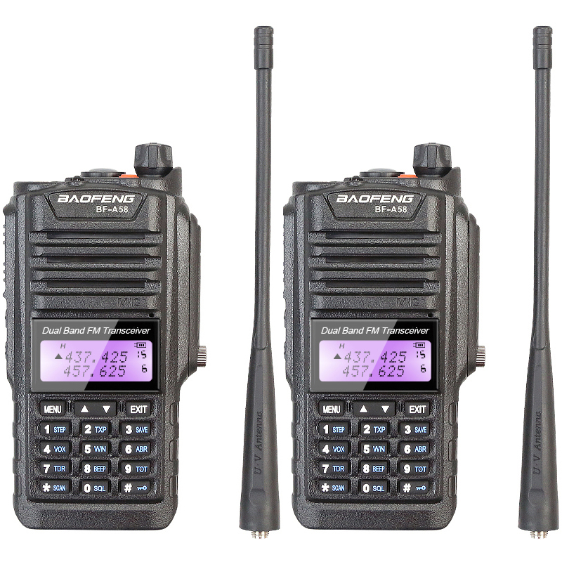 2PCS BAOFENG BF-A58 Waterproof Anti Dust 2-way Dual Band Radio 136-174/400-520 MHZ Walkie Talkie with Earphone2PCS BAOFENG BF-A58 Waterproof Anti Dust 2-way Dual Band Radio 136-174/400-520 MHZ Walkie Talkie with Earphone