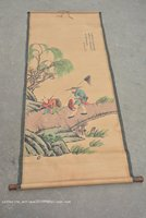 Rare Hand-painted QingDyansty Chinese vertical axis paintings Fisherman  free shipping