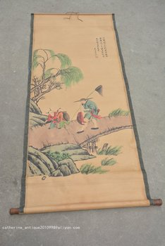Rare Hand-painted QingDyansty Chinese vertical axis paintings,Fisherman, free shipping