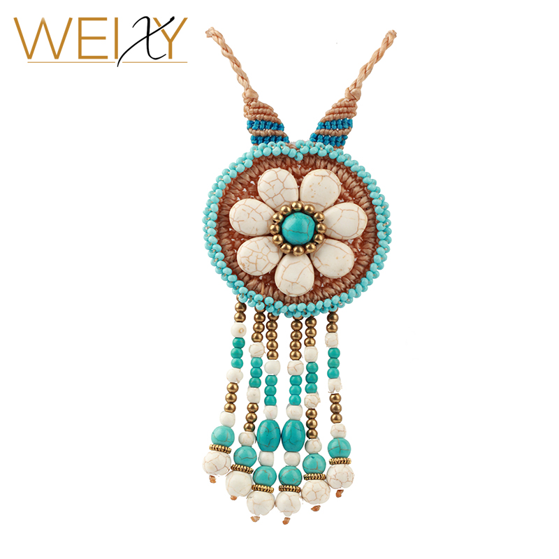 Retro Sweater Necklace Bohemian Stone and Copper Tassel Pendant Long Rope Chain Accessories Girls Christmas Fashion Jewelry Gift