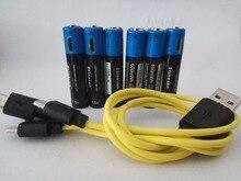 Новый продукт! 6 шт./партия etinesan AAA 1.5 В 600mwh литий-полимерный литий-ионная аккумуляторная батарея с USB кабель игрушки фонарик