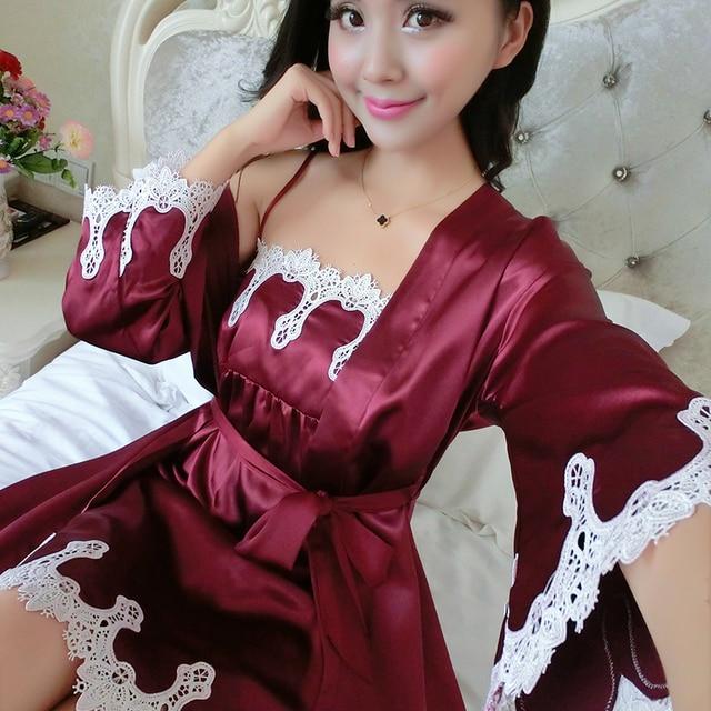 Искусственный Шелк Пижамы Женская Мода Платье Установить Сексуальные Ночные Юбки V Шеи Полный Рукавом Пижамы Халат Платье Устанавливает Сексуальные Кружева пижамы