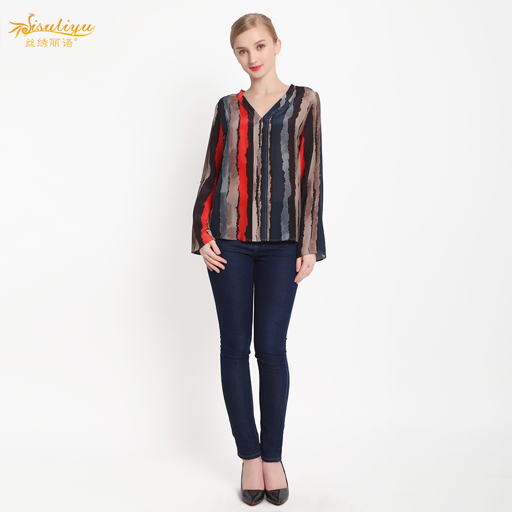 100% Silk Crepe Blusas Mulberry Silk Crepe Fabric Shirt Women Blouses Organic Silk Fabric Women Shirt New Arrival Free shipping