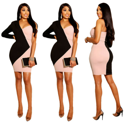 Summer Pencil Dresses 2019 New Women Summer Sexy One Long Sleeve V Neck Black And Pink Patchwork Short Pencil Dress