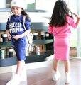 Adolescente Meninas Conjuntos de Roupas de Outono 2017 Crianças Meninas de Manga Comprida Camisola & Saia Reta 2 pcs Meninas de Volta à Escola Outfits