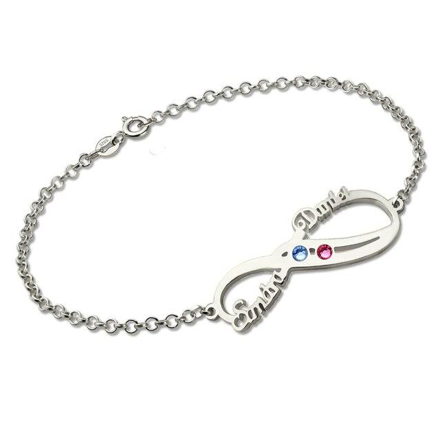 personnalis infinity bracelet porte bonheur argent double nom bracelet couple bracelet d. Black Bedroom Furniture Sets. Home Design Ideas