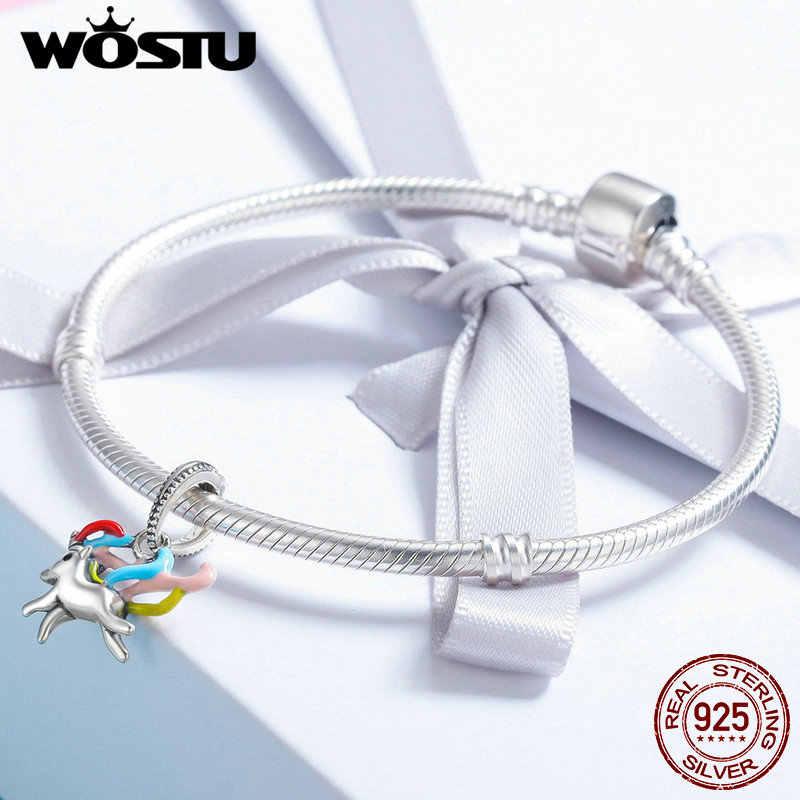 WOSTU nouvelle mode 100% 925 argent Sterling coloré Licorne mémoire pendentif à breloque fit femmes bracelet à breloques bijoux à bricoler soi-même CQC502