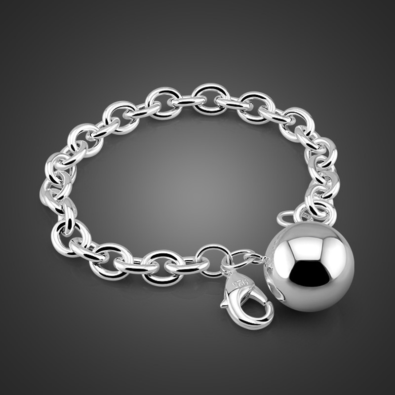 Fashion silver bracelets and bangles. Solid 925 silver ball bracelet for women.Lovely girl 100% sterling silver jewelry.gift