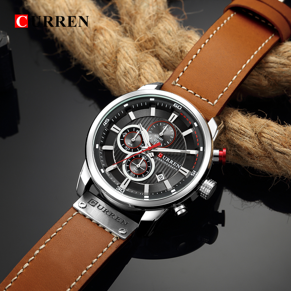CURREN 8291 Luxury Brand Men Business Chronograph Sport Leather Wristwatch with Calendar Black Dial Quartz watch heren horloge