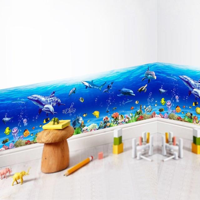 underwater world baseboard wall stickers for kids room fish shark dolphin wall art decal kindergarten kitchen nursery decoration