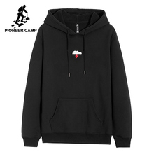 Pioneer camp new winter polar fleece hoodies men clothing print hooded sweatshirt
