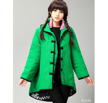 Winter chineses tyle retro frog dovetail thick cotton padded coat folk style overcoat shell windbreaker trench coat