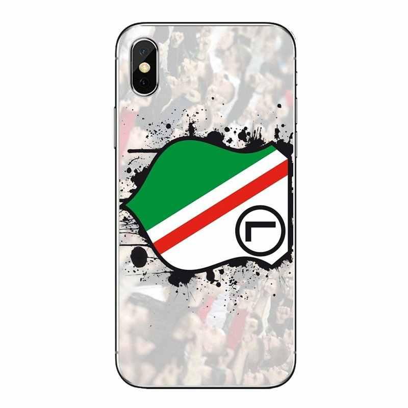 TPU Tampa Transparente Para O iPod Touch iPhone 4 4S 5 5S 5C SE 6 6 S 7 8 X XR XS Mais MAX Futebol Legia Varsóvia Polónia Warszawa Logotipo