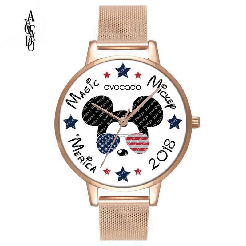 New Minnie mouse American flag stars and stripes cartoon printed watches kids Wrist for women female ladies girl clock gift stylish people and american flag pattern 10cm width wacky tie for men