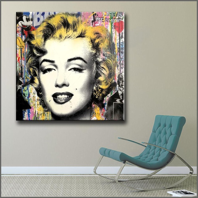Wlong Art Printing Pop Oil Painting Canvas Marilyn Monroe Wall Art , Wall  Pictures For
