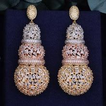 GODKI 68 millimetri di Lusso Zucca Piena Micro Cubic Zirconia Africano Festa di Fidanzamento Orecchino Gioelleria raffinata e alla moda per Le Donne