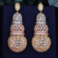 GODKI 68mm Luxury Gourd Full Micro Cubic Zirconia African Engagement Party Dress Earring Fashion Jewelry For