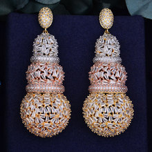 GODKI 68mm Luxury Gourd Full Micro Cubic Zirconia African Engagement Party Dress Earring Fashion Jewelry for Women