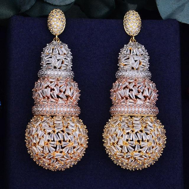 GODKI 68mm יוקרה דלעת מלא מיקרו מעוקב Zirconia אפריקאי אירוסין מסיבת שמלת עגיל תכשיטים לנשים