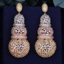 Godki 68mm 럭셔리 조롱박 전체 마이크로 큐빅 지르코니아 아프리카 약혼 파티 드레스 귀걸이 여성을위한 패션 쥬얼리