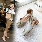 korean style Solid Color strappy heels new arrival color block shoes summer sandals schoenen belt fastener tip binding all