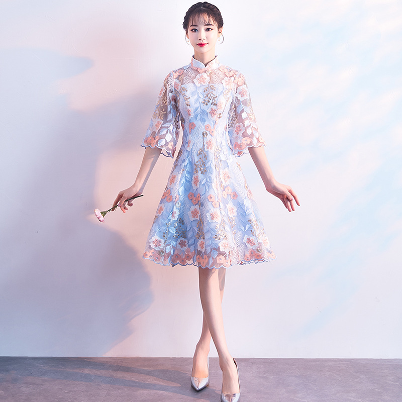 Floral Elegant Female Evening Party Qipao Traditional Chinese Dress Sexy Slim Vestidos Vintage Girl Mandarin Collar Cheongsam
