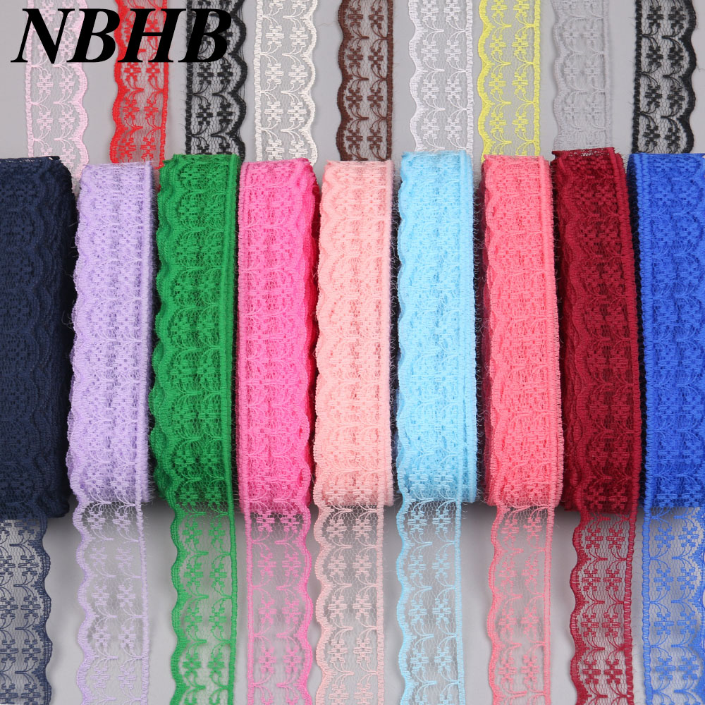 NBHB African lace ribbon 10 yards lot 20 mm wide DIY accessories 17 color embroidered lace fabric wedding party decoration
