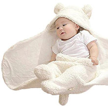 Newborn Baby Cute Cotton Receiving White Night gown Boy Girl Wrap Swaddle solid cute blanket Baby Night gown(China)