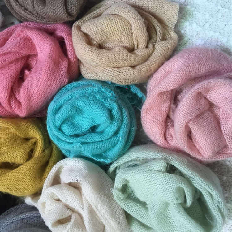 50*160 cm Newborn Photo Prop Wraps, Knit Soft Stretch Photography Prop Swaddle Blankets , Rayon mohair Stretchy baby wrap