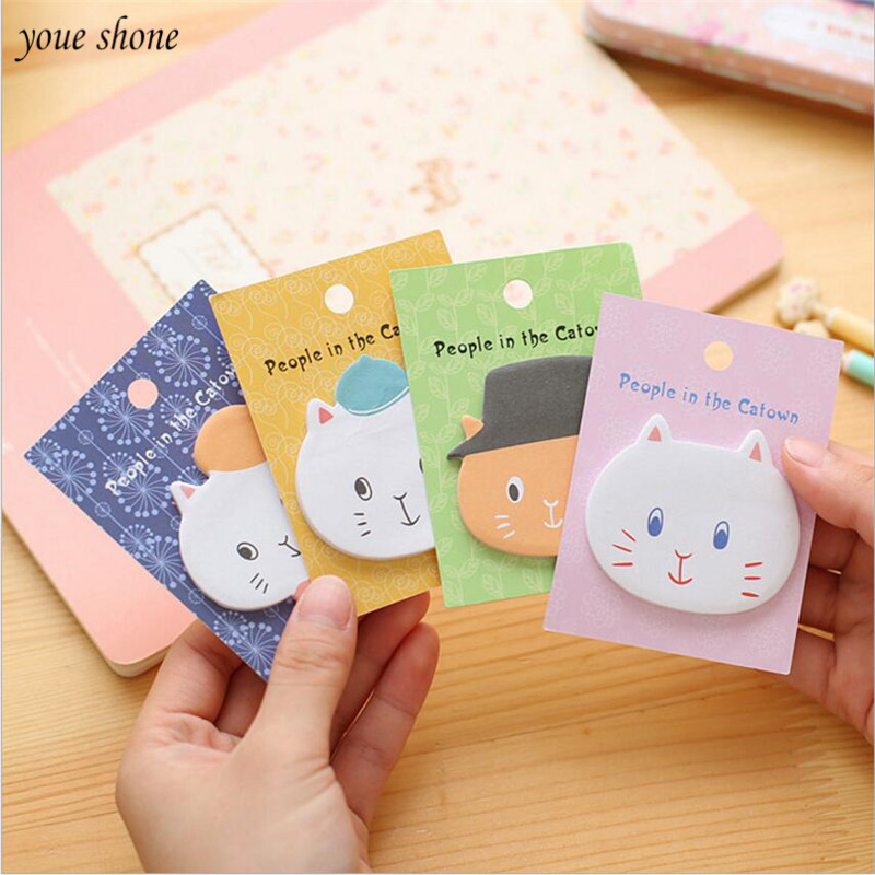 2PCS Cartoon Stickery Note Creative Cat Style Stickers Scrapbooking Note Book N Times Posted Message Sticker For School Office