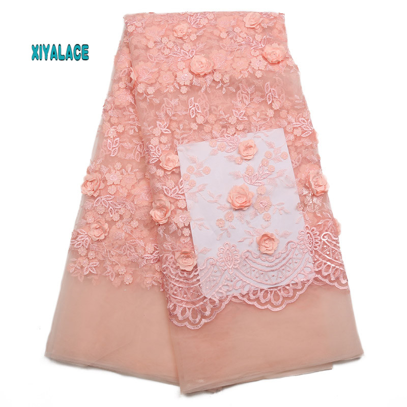 African Lace Fabric 2019 High Quality Lace 3D Flowers Tullle Lace Fabric French Beads Lace Fabric For Party Beads YA2023B-1