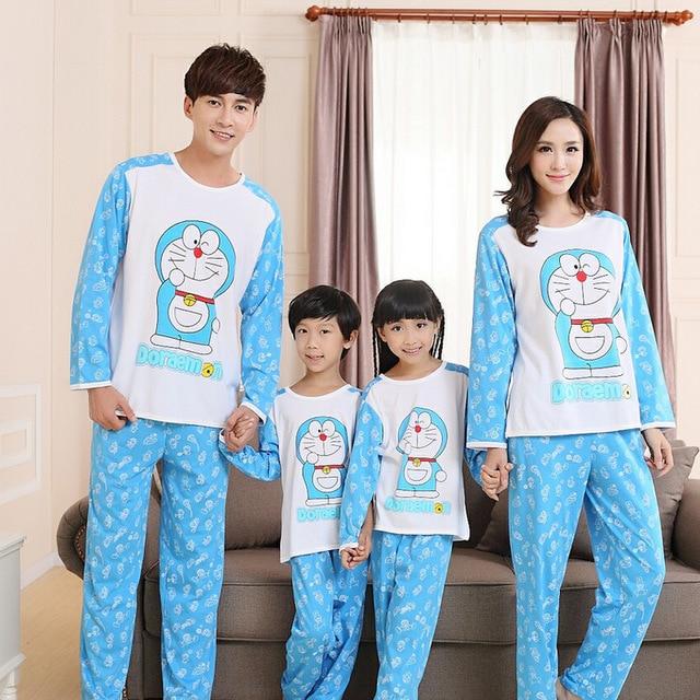 Family pajamas doraemon family clothing set matching clothes family cotton pajamas for women men children christmas  cartoon