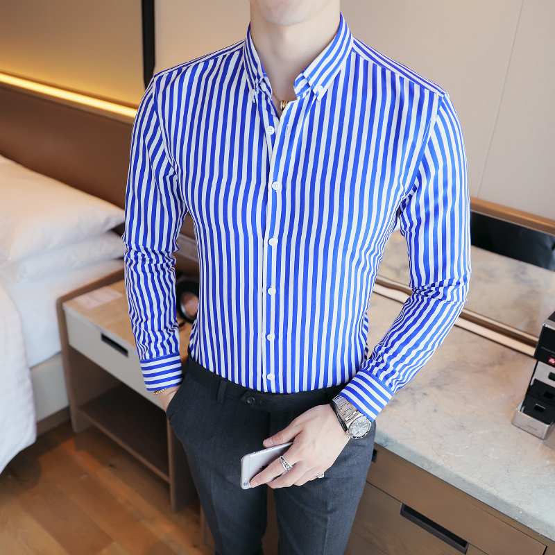 2018 spring Main PUSH Bursting Autumn New Product Man Stripe Long Sleeve Shirt Fashion Joker Youth blue free shipping