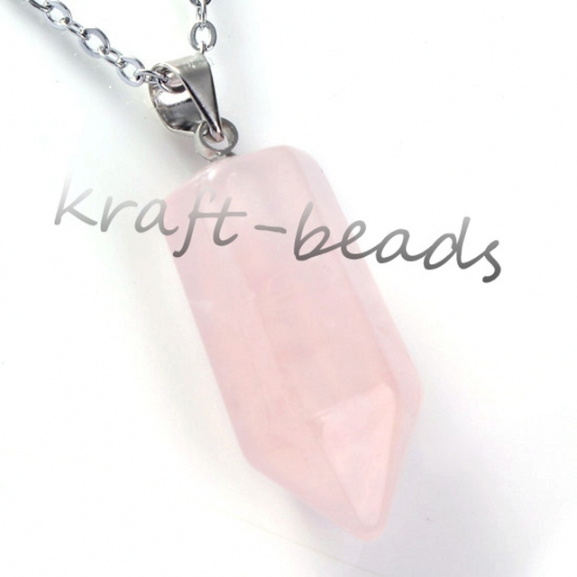 Kraft beads silver plated hexagonal prism pendant natural rose pink kraft beads silver plated hexagonal prism pendant natural rose pink quartz necklace link chain charm aloadofball Images