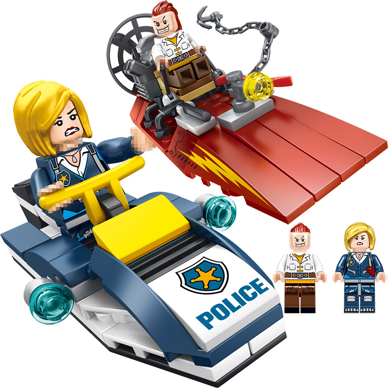 Police Series Blocks Compatible LegoINGLYS City Speedboat Maritime Patrol Mini Action Figures Bricks Enlightening Toys For Boys