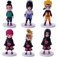 6pcs/lot Naturo Uzumaki Naruto Uchiha Sasuke Nara Shikamaru Uchiha Itachi PVC Doll Figure Model Toys 12cm Kunai