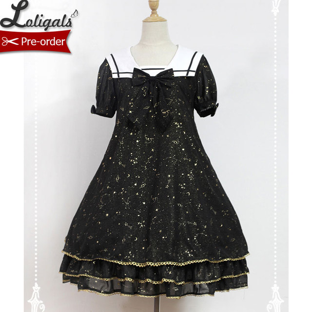 Cute Casual Lolita Dress Sailor Collar Constellation Printed Short Sleeve  Gold Stamped Chiffon Dress by Soufflesong. 2 orders e2b0c201b7bc