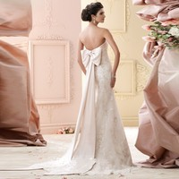 New Designed Strapless Bridal Gown with Sash/Bow Organza Trumpet Wedding Dresses 2015 Appliques