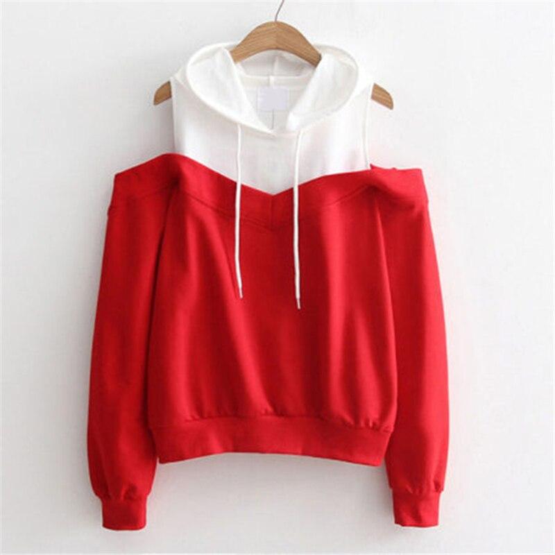 Hirigin Street Women Hoodies 2017 Autumn Color Patchwork Hollow Shoulder Sweatshirts Cotton Long Sleeve Tracksuit Girls Clothing