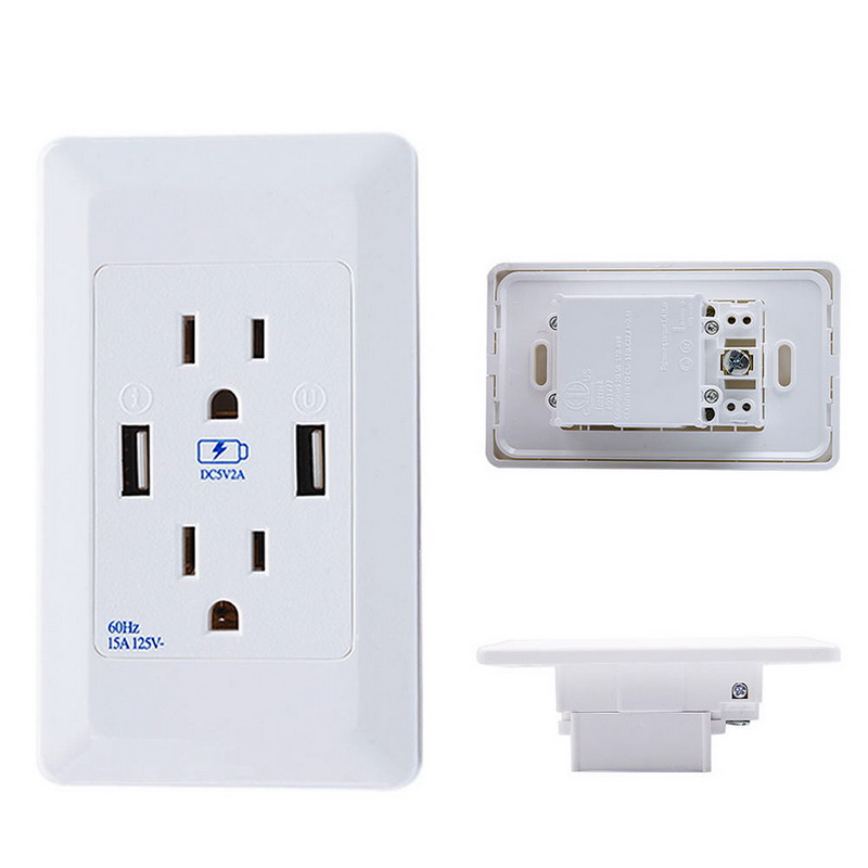 1 PC 120x70x40mm Dual USB Port Wall Socket Charger AC Power Receptacle Outlet Plate Panel Station VBU78 T50 ld7552dps ld7522ps ld1010d
