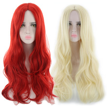 Cheap Halloween Costume Long Wavy Wig Red Blonde False Hair Synthetic Anime Cosplay Woman Wigs For Party Free Shipping 24inch