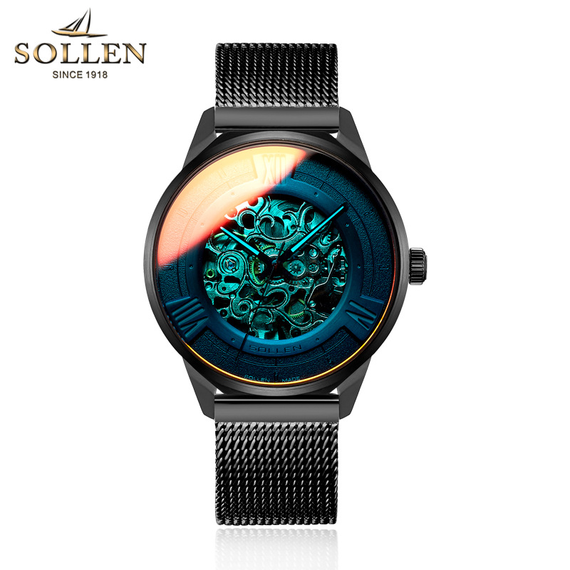 SOLLEN Men Classic Automatic Mechanical Watches Brand Luxury Man Stainless Steel Wristwatch Clock Relogio Masculino