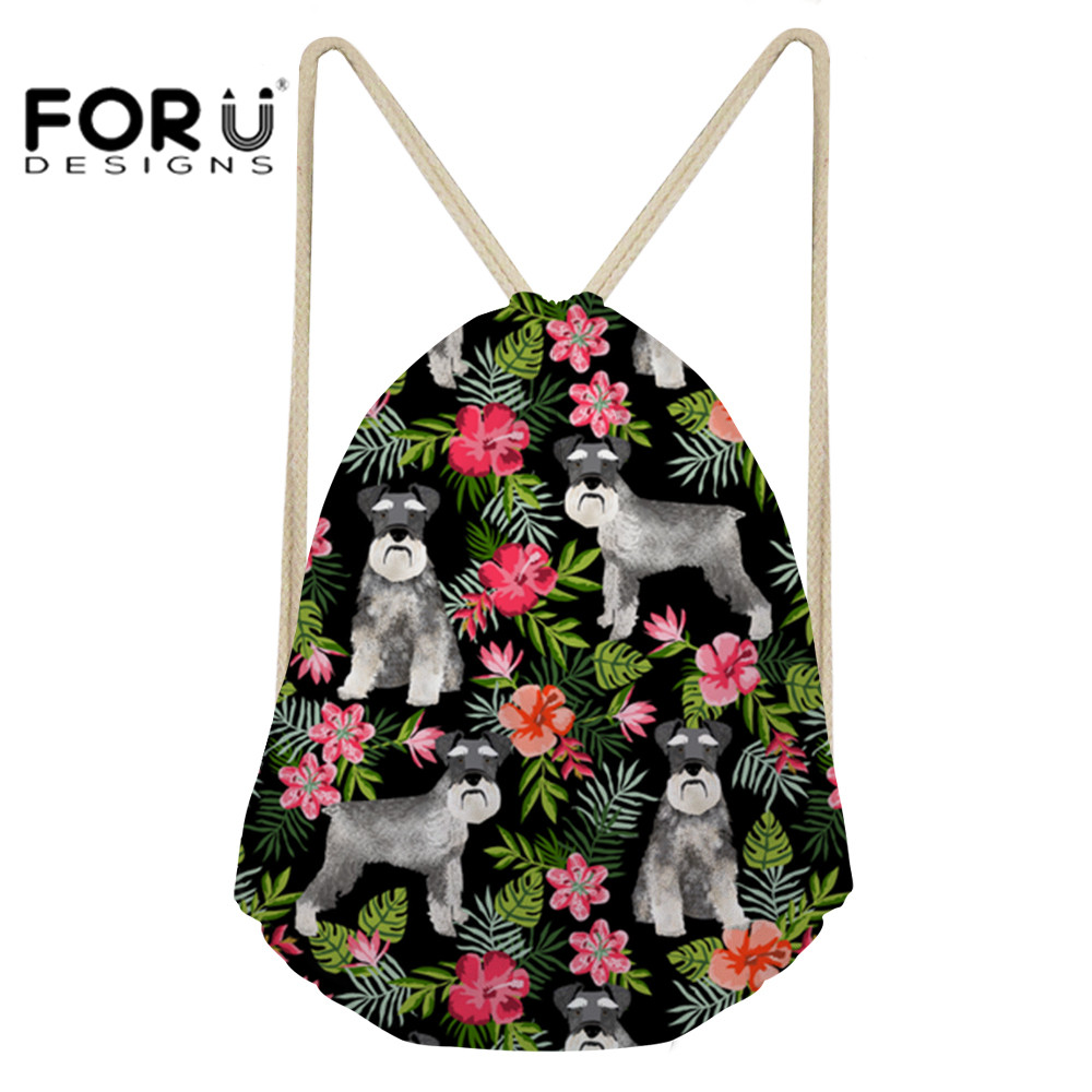 Have An Inquiring Mind Forudesigns Women Gym Bag Training Bag Drawstring Backpack Cute Schnauzer Dog Printing Gym Sack Sports Bags For Fitness Softback