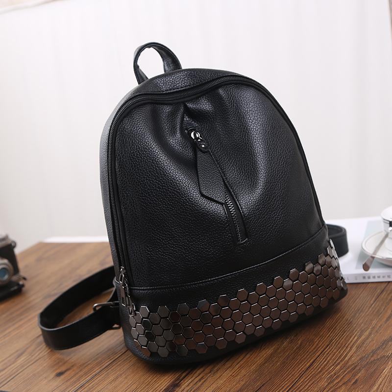 High Quality PU Leather Women Backpack Preppy Style School Backpack Black Mater Rivet Women Bag H762 high quality pu leather women backpack