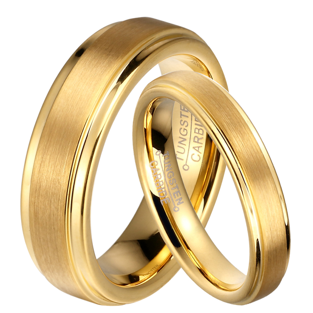Wedding Rings For Him: Aliexpress.com : Buy 1 Pair Gold Plated Tungsten Carbide