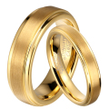 1 Pair Gold Plated Tungsten Carbide Wedding Band Rings Set for Him and Her 6mm for Men 4mm for Women Brushed Finish