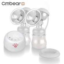 Cmbear Electric Breast Pump Powerful Suction Baby Feeding USB Pumps With Two Bottles Milk Accessories