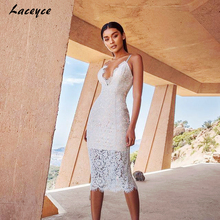 Laceyce 2017 New Summer Luxury Women Runway White Lace Bandage Dress V-neck Backless Celebrity Cocktail Party Bodycon Dresses